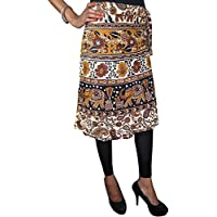 Mogul Interior Indian Skirt Brown Animal Print Wrap Around Skirts Beach Cover Up
