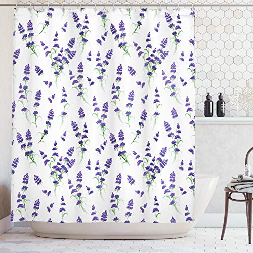 Lavendel-duftende Stoff (ABAKUHAUS Duschvorhang, Aquarell Lavendel Blühenden Duftenden Bleichen Pflanzen Natur Kunst Symmetrisch Druck Muster, Wasser und Blickdicht aus Stoff mit 12 Ringen Bakterie Resistent, 175 X 200 cm)