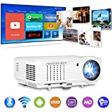 HD LCD Smart Wireless Home Cinema Projector 4600 Lumen WXGA 1280x800 Android 6.0 LED Bluetooth Video Projectors Full HD 1080P Support Airplay Google Apps for Outdoor Movies Entertainment Gaming