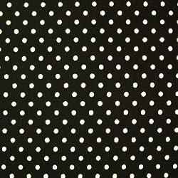 Negro 100% popelín algodón con lunares blancos (por metro)