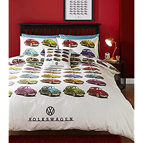Volkswagen Beetle Car Single Quilt Duvet Cover and Pillowcase Bedding Bed Set Official Vw Retro (Singolo Barndoor)