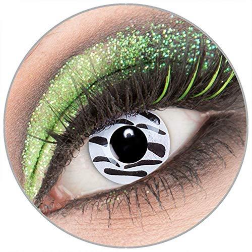 Farbige weiß schwarze 'Zebra' Kontaktlinsen ohne Stärke 1 -
