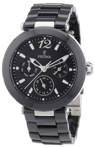 Festina Women's Quartz Watch with Black Dial Analogue Display and Black Ceramic Bracelet F16641/2
