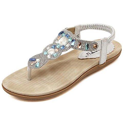 Sandales Xiaolin Été Or Et Argent Clip Toe Strass Talon Plat Vacances Vent Roman Femme Diamant Étudiants Talon Hauteur 2.5 Cm (Taille Facultatif)