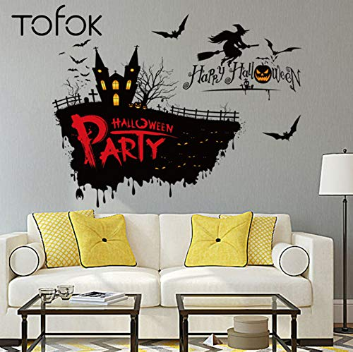 Xbwy Halloween Scary Hexe Wandaufkleber Halloween Thema Party Wanddekoration Aufkleber 50 * 70 Cm Festival Und Partei Liefert