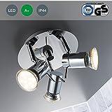 LED Bad Deckenleuchte Deckenlampe schwenkbar spritzwasser geschützt IP44 Badlampe Badezimmer Leuchte Deckenstrahler Spotleuchte GU10 3 x 3W 250lm warmweiß chrom