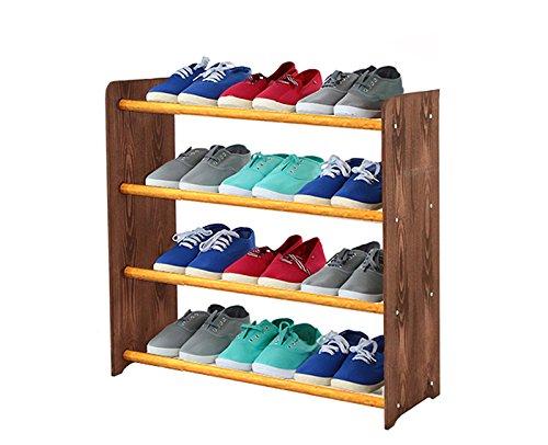 Schuhregal Schuhschrank Schuhe Schuhständer RBS-4-65 (Seiten dunkelbraun, Stangen in der Farbe erle)