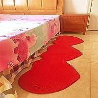 Matrimonio en forma de corazón dormitorio alfombra Super suave y antideslizante para alfombras para dormitorio moderno alfombra suave piso alfombra de pasillo, 50cmx160cm, Rojo, 60cm*180cm