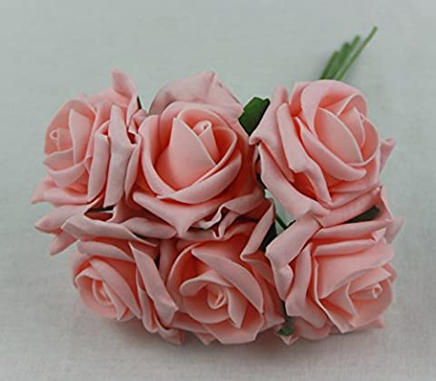 6 colourfast foam roses vibrant colours wedding flowers buttonholes (peach)