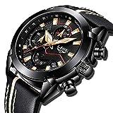 Orologio da uomo, orologio sportivo analogico impermeabile al quarzo, cronografo militare da uomo di marca LIGE di lusso, moda orologio da data in pelle nero