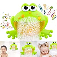 Baby Bath Bubble Machine, Lesgos Frog Automatic Bubble Maker With 12 Music Baby Fun Shower Toys For Kids, Boys, Girls