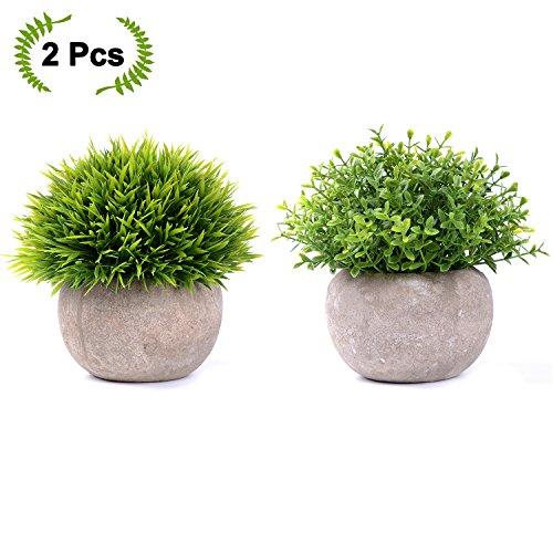 YQing 2er Set Künstliche Faux Töpfe Pflanzen Mini Kunststoff Fälschung Grünes Gras für Home Decor Office