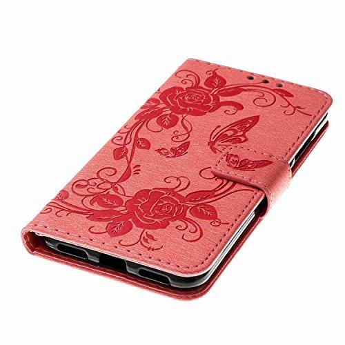 Cover Huawei P8 Lite 2017, Alfort 2 in 1 Custodia Protettiva in Pelle Verniciata Goffrata Farfalle e Fioria Alta qualità Cuoio Flip Stand Case per la Custodia Huawei P8 Lite 2017 Ci sono Funzioni di S Rosa