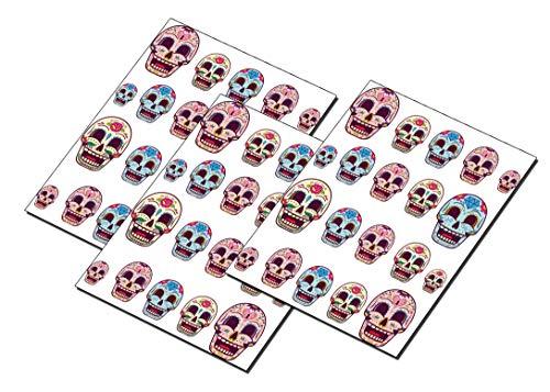 AWS Set Water Skulls Sugar mexikanischen Diamant Mix von 3 Arten Nagel Nail Art Sticker Aufkleber Dekoration Blumen Mexicain Totenkopf Schadel Verziert Flowers Diamond craneo, ()
