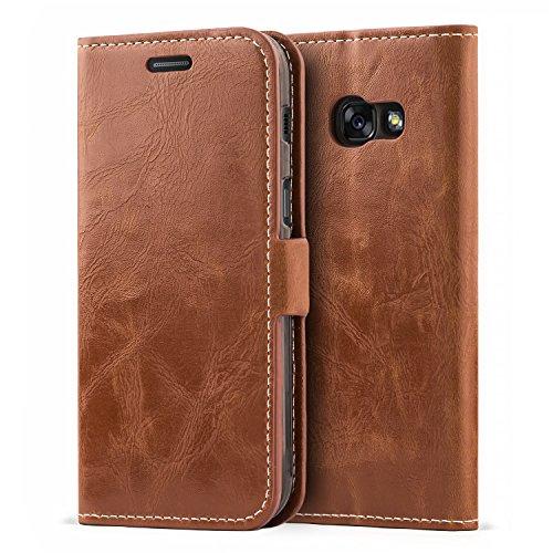 Mulbess Samsung Galaxy A3 2017 Hülle Leder, Handyhülle für Samsung Galaxy A3 Klapphülle Tasche Leder Flip, Braun