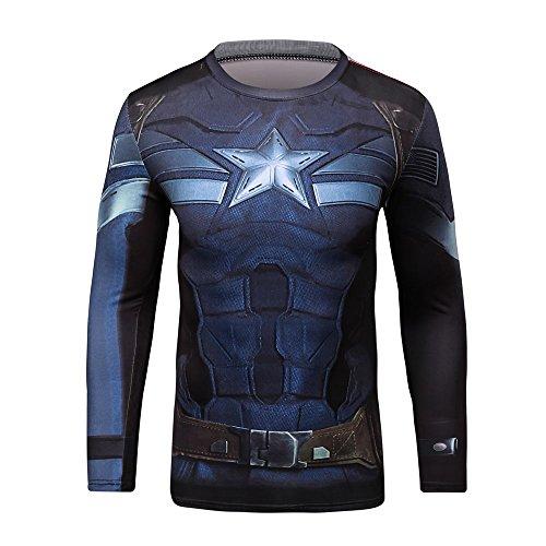 (CT18 3D Druck New Blau Fest Kompression Langarm-Shirt Grundschicht für Sport Fashion (XL, New CA Long))