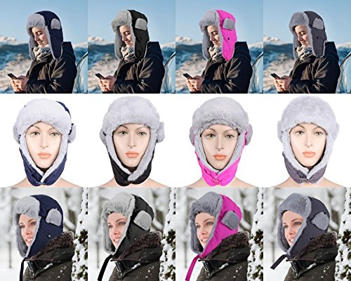 ICOLOR Winter Hats Trooper Trapper Hat with Ear Flap Chin Strap hats