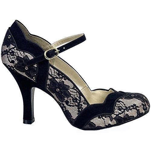 Ruby Shoo IMOGEN Vintage LACE Spitzen Riemchen Pin Up Heels PUMPS Rockabilly (38) - 2