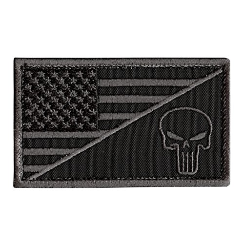 Black Subdued USA Flagge Punisher Totenkopf ACU Navy Seals Morale Army Gear Fastener Aufnäher Patch -