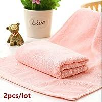PWTY 2 Unids/Lote Soft 100% Toalla De Fibra De Bambú Toalla De Mano Cara Pequeña Toalla 25 Cm * 50 Cm, Rosa