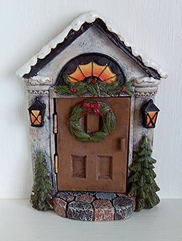 Miniature de Noël de porte de porte de fée de Noël Style lanternes Couronne Décoration