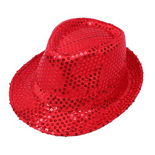 Fansi Unisex Persönlichkeit Pailletten Hut Top Bühne Tanz Hut funkelnden Hut Parenting Hut Erwachsenen Kind Hut (1 Stück Rot) (Pailletten Hut Rot)
