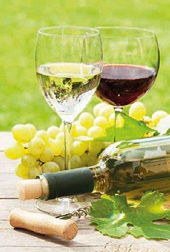 Karte Gruß Allgemein Doppelkarte Rotweinglas Weissweinglas gefüllt liegende Weinflasche - Liefermenge 5 Stück