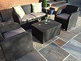Allibert by Keter Carolina 4 Seater Lounge Set Outdoor Garden Furniture - Brown/Taupe Cushions ()