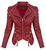 Rock Creek Damen Kunstleder Jacke Übergangs Jacke Leder Optik Bikerjacke D-365 [WS-967 Winered S]