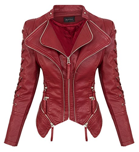 Rock Creek Damen Kunstleder Jacke Übergangs Jacke Leder Optik Bikerjacke D-365 [WS-967 Winered L]