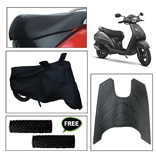 vheelocityin combo of 72601 black motorcycle body and seat cover with foot mat and free acupressure grip for tvs jupiter Vheelocityin Combo of 72601 Black Motorcycle Body and Seat Cover with Foot Mat and Free Acupressure Grip for TVS Jupiter 51fTrZRKYWL