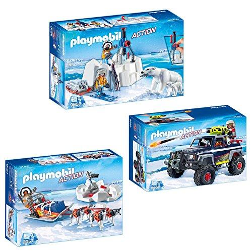 Preisvergleich Produktbild Playmobil Eispiraten-Set 3-teilig - 9056 Polar-Ranger mit Eisbären + 9057 Hunde-Schlitten + 9059 Truck