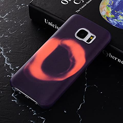 For Samsung Galaxy S7 Soft TPU Case Cover Magical Stylish Color Changing Heat-Sensing Case Fluorescent Thermal Heat Induction Matte Surface Back Cover for Galaxy S7 - Modena change to Purple