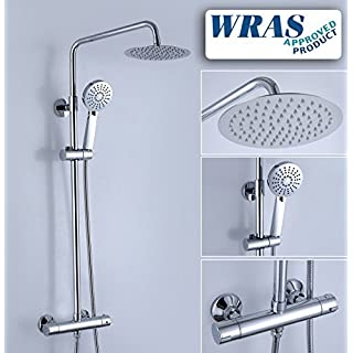 Alfred Victoria SH104 Round Thermostatic Shower Mixer with Rigid Riser Rail Kit, Chrome