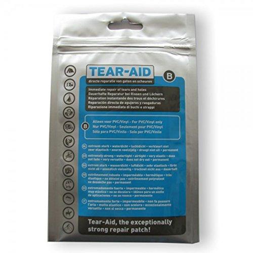 TEAR-AID Typ B Reparaturflicken für alle PVC-Arten - Wasserbetten, Planen, Zelte, Schlauchboote, Planschbecken, Pool, Hüpfburg, Campingausrüstung etc.