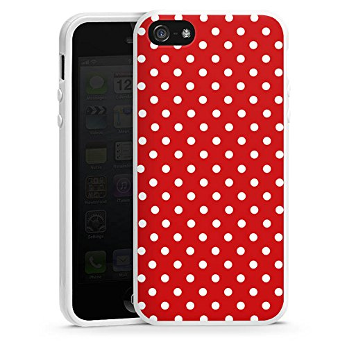 Apple iPhone 5s Housse Étui Protection Coque Points Rockabilly Robe Housse en silicone blanc