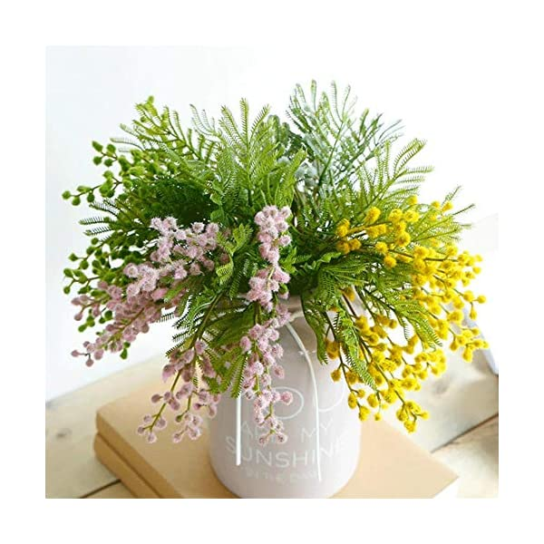 ticc Flores Artificiales racimos florecen Acacia Novia sosteniendo Ramo Esponjoso Helecho de plástico Planta Falsa hogar Sala de Estar decoración de la Mesa, Verde