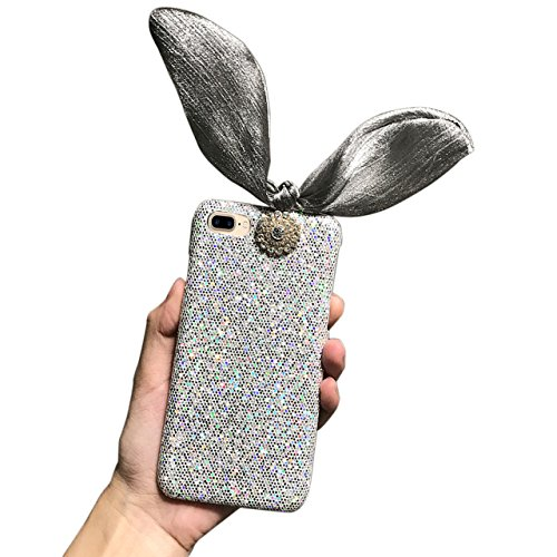 Cover per iPhone 7 Plus Diamante, Custodia per iPhone 7 Plus, Bonice Luxury Glitter Bling 3D DIY Strass Rigida Plastica Hard - Bonice Case Cover Shock-Absorption Bumper,Duro Plastica PC Protettiva,Cri Rabbit -Ear - Cover-03