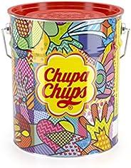 Chupa Chups best of lolly's emmer, 150 lolly's in opbergblik, Pop-Art metalen blik met 6 smaken -  snoep om te