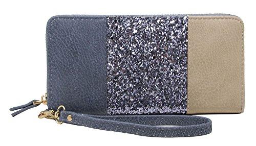 CRAZYCHIC - Portafoglio donna Paillette - Strass Glitter Moda Blu
