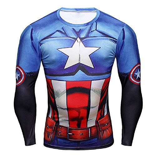 b839bb4dced808 16025 - Langärmeliges Sport T-Shirt mit Captain America Print für Herren -  (XXXXL