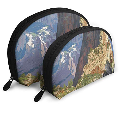 Zion National Park - Angels Landing Portable Reise-Kosmetiktaschen Organizer Set of 2 for Women Teens Girls Angel Down Parka