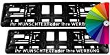 Satz (2 Stück) Kennzeichenhalter - MIT INDIVIDUELLEM WUNSCHTEXT - VOLLUMRANDUNG - Beschriftung Werbung Spruch Text personalis