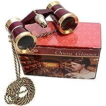 HQRP Prismáticos de ópera/ Binocular de Teatro 3 x 25 de color borgoña con cadena dorada y luz roja de lectura