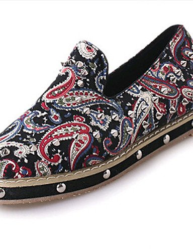 XAH@ Chaussures Femme-Extérieure / Bureau & Travail / Habillé / Décontracté-Rouge / Blanc / Gris-Talon Plat-Ballerine-Plates-PU red-us8 / eu39 / uk6 / cn39