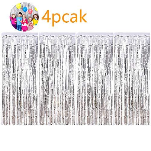 SANCUANYI 4 Packung Folie Vorhang Metallic Fringe Vorhänge Schimmer Vorhang für Geburtstag Hochzeit Dekoration(Silber)