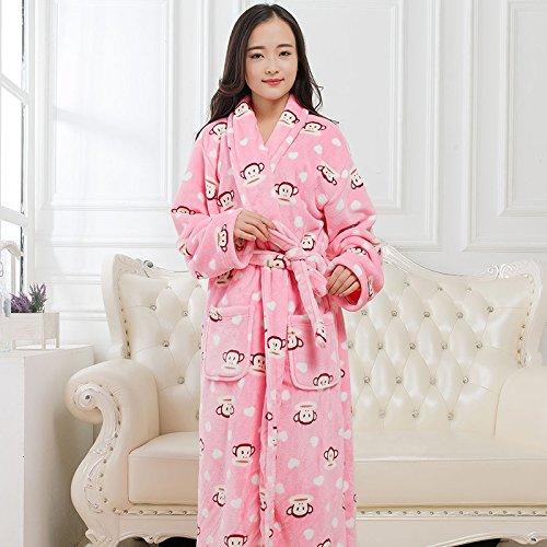 lkklily-Couple Nachthemd Flanell Bademantel für Damen und Herren Herbst und Winter Lang, gepolsterter Pyjama, Nachtwäsche und Loungewear, XL