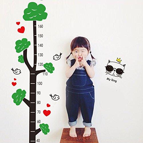 Aha Yo-Kleiner Baum Höhe Messskala Kindergarten Kinderzimmer Schlafzimmer Wohnzimmer Aufkleber Diy, Grüne Und Rote Kaffee