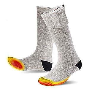 Beheizte Socken, wiederaufladbare Socken Elektrische Heizsocken für Männer und Frauen Fußwärmer USB-Ladesocken Heizung im Freien warm