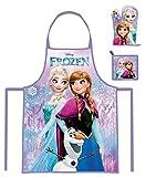 Walt Disney diversi motivi, Bambini Cucinare insieme Grembiule da cucina, Guanti per afferrare le pentole e Presine, 3 pezzi, per Junden e Ragazza - Frozen (101899)